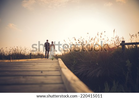 Just married couple on a wooden footbridge