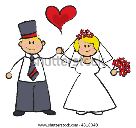 Just MARRIED! (raster) - cartoon illustration of a wedding couple in fair skin tone