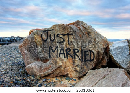 Just married rock against the ocean and vivid sky