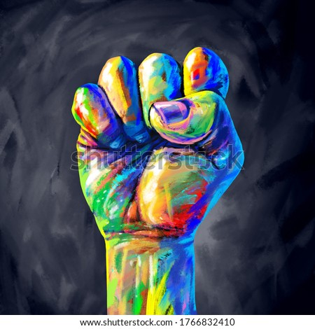 Justice abstract concept as a fist painted in diverse colors representing diversity and power of the community for equal rights and social fairness in a 3D illustration style. Photo stock ©