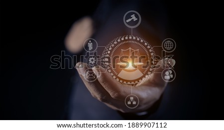 Justice and law concept. Lawyer businessman holding law innovation network icons. blurred background. Photo stock ©