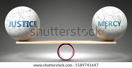 Justice and mercy in balance - pictured as balanced balls on scale that symbolize harmony and equity between Justice and mercy that is good and beneficial., 3d illustration Foto d'archivio ©