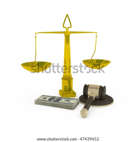 justice and money - 3d illustration