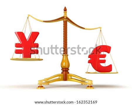 Justice Balance  with Currency (clipping path included)
