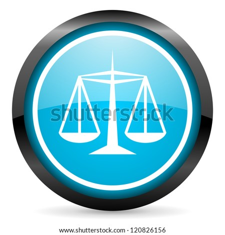 justice blue glossy circle icon on white background