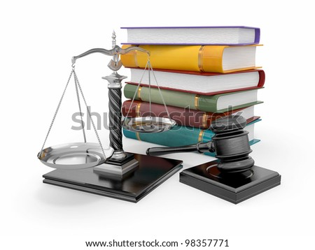 Justice concept. Law, scale and gavel. 3d