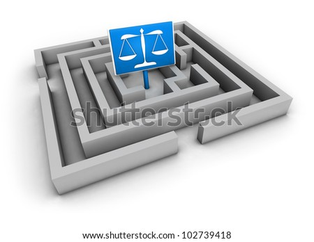 Justice concept with labyrinth and blue balance symbol on white background.