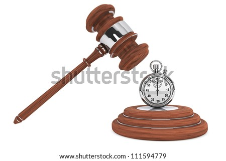 Justice Gavel with StopWatch on a white background