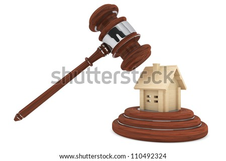 Justice Gavel with wooden House on a white background