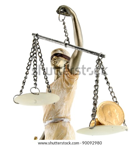 Justice (greek:themis,latin:justitia) blindfolded with scales, sword and money on one scale. Corruption and bribing concept - stock photo