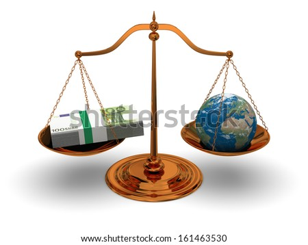 Justice in world of money, concept of justice and corruption. Elements of this image furnished by NASA.