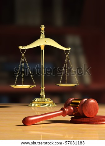 Justice scale and wood gavel, bookshelf visible on background. Digital illustration.