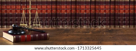 Justice Scales And Legal Law Book Near Mallet  ストックフォト ©
