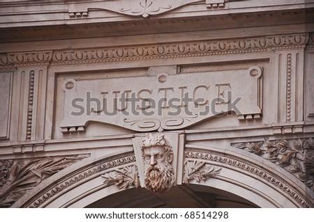 Justice sigh, Philadelphia City Hall, Pennsylvania.