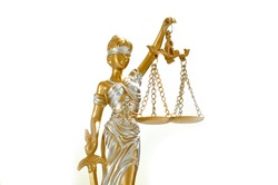 Justice woman statue sculpture isolated on white background law lawyer symbol antique vintage classic metal golden gold yellow judge