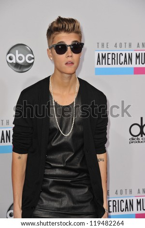 Justin Bieber at the 40th Anniversary American Music Awards at the Nokia Theatre LA Live. November 18, 2012  Los Angeles, CA Picture: Paul Smith
