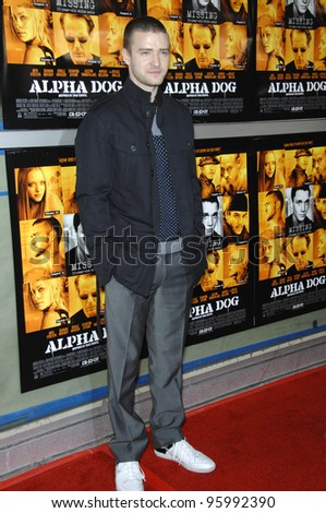 """JUSTIN TIMBERLAKE at the world premiere of his new movie """"Alpha Dog"""" at the Arclight Theatre, Hollywood. January 3, 2007  Los Angeles, CA Picture: Paul Smith / Featureflash - stock photo"""