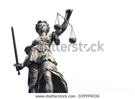 Justitia isolated on a white background, Frankfurt, Germany