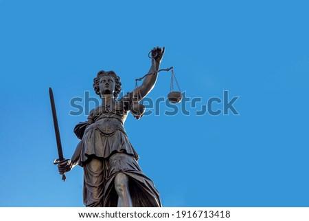 Justitia (Lady Justice) Skulptur at the Roemerberg  in Frankfurt, built in 1887.