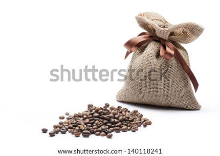 jute bag of coffee with coffee beans on white background - stock photo