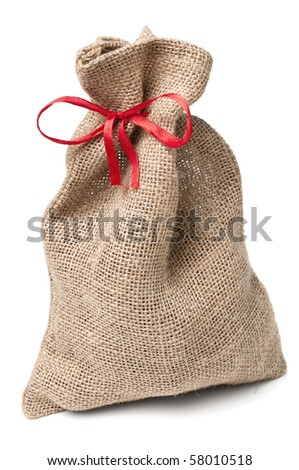 Jute sack present with red ribbon