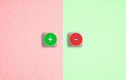 Juxtaposed red and green Plus and Minus icons on dice on a matching divided background in a concept of success and failure or positivity and negativity