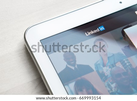 JYVASKYLA, FINLAND - JULY 1, 2017: Linkedin website and home page on tablet screen. Linkedin is a social networking service for business people. Editorial.