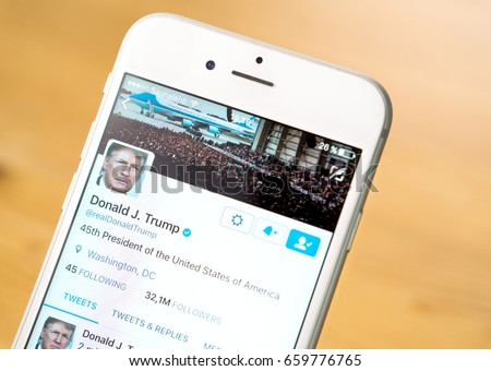 JYVASKYLA, FINLAND - JUNE 13, 2017: Close up of mobile phone screen with the Twitter account of Donald Trump. The American President has over 32 million followers on Twitter. Illustrative editorial.