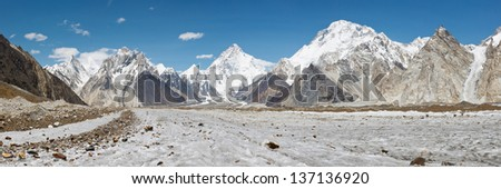 K2 and Baltoro Glacier Panorama, Karakorum Mountain Range, Pakistan