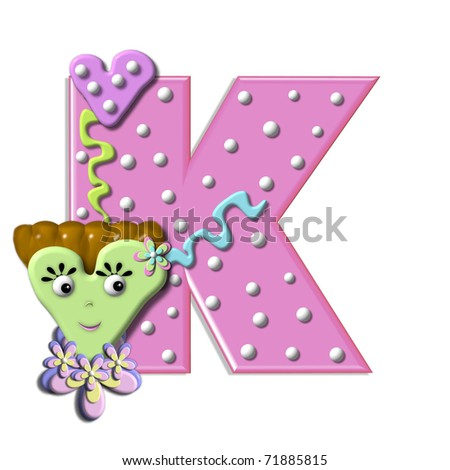 in the alphabet set  quot Heart Body quot   is decorated with ribbon  dots    K Alphabet In Heart