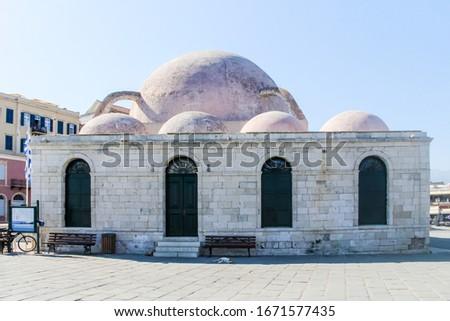 Küçük Hasan Pasha Mosque or Gialisi Tzami (mosque of the sea), Chania, Crete, Greece Stok fotoğraf ©