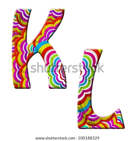 K, L, Colorful wave font isolated on white.