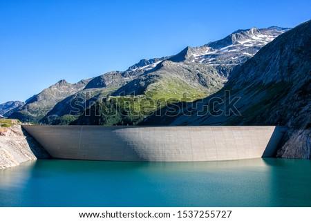 Kölnbrein dam in the upper Maltatal valley of the river Malta in the High Tauern mountain range, Carinthia, Austria. Stock photo ©