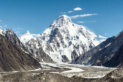 K2 mountain with Angelus peak and Godwin-Austen glacier from Concordia on a clear summer day, K2 Base Camp trek, Pakistan