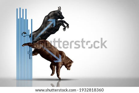 K shaped economy and economic recovery as a financial concept with a bearish decline or bullish market increase in a 3D illustration style. Photo stock ©