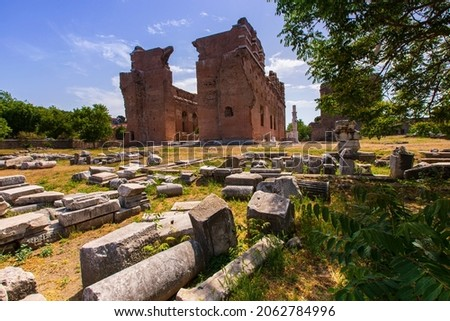 Kızıl Avlu is a Roman temple located in Bergama, Turkey. The temple was probably built during the reign of Hadrian during the Roman Empire in the 2nd century AD Stok fotoğraf ©
