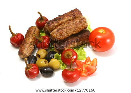 kabob rolls with olives pepper - stock photo