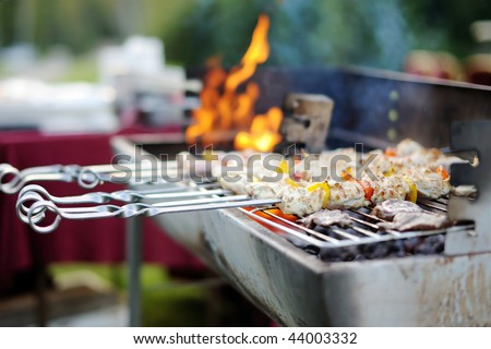 Kabobs grilled with vegetables on metal skewers - stock photo