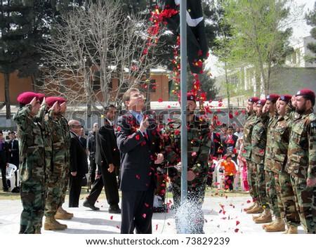kabul afghanistan time. kabul afghanistan flag. stock