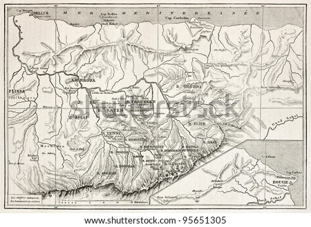 Kabylie old map, Algeria. Created by Erhard, published on Le Tour Du Monde, Paris, 1867
