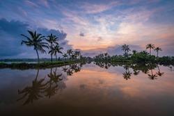 Kadamakkudy, Kerala - Beautiful sunrise view from Kerala Landscape backwater taken on Sep 2019