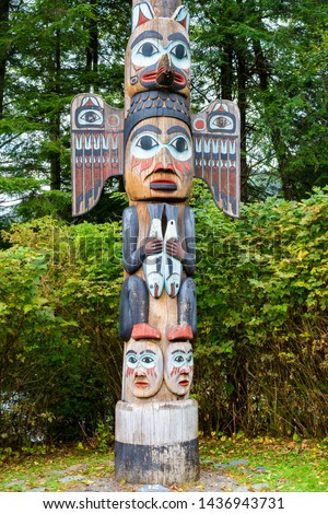 Kadjuk Bird Totem Pole at Totem Bight State Historical Park, Ketchikan, Alaska. Native American tradition. Totem animals act as guardian spirits.