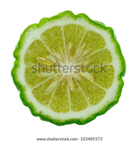 Kaffir lime slice on white background