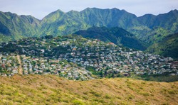Kaimuki town area at base of Koolau Mountain Range, south-east Oahu, Hawaii