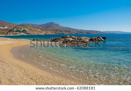 Kalafatis Bay beach on the island of Mykonos. Greece.