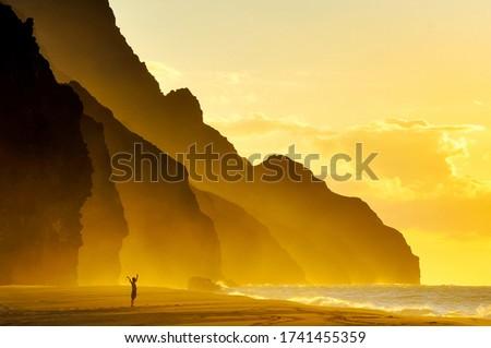 Kalalau beach sunset, Kauai, Hawaii Stock photo ©