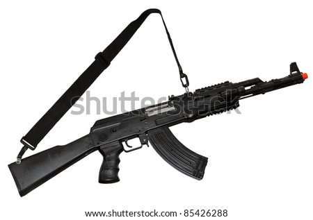 Kalashnikov AK-47 machine gun isolated on white. Clipping path included
