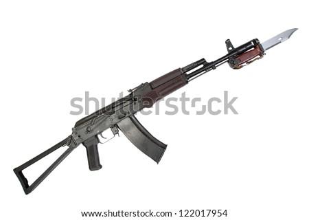kalashnikov assault rifle aks-74 with bayonet isolated on a white background