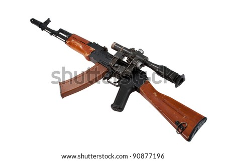 kalashnikov rifle with telescopic sight isolated on a white background