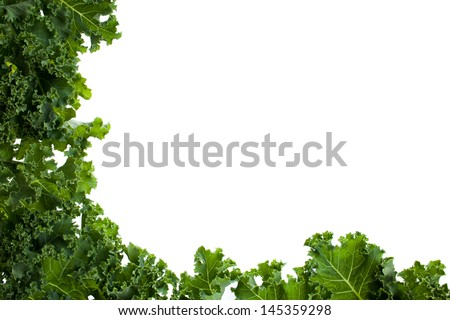 Kale leafs covering two side of the image
